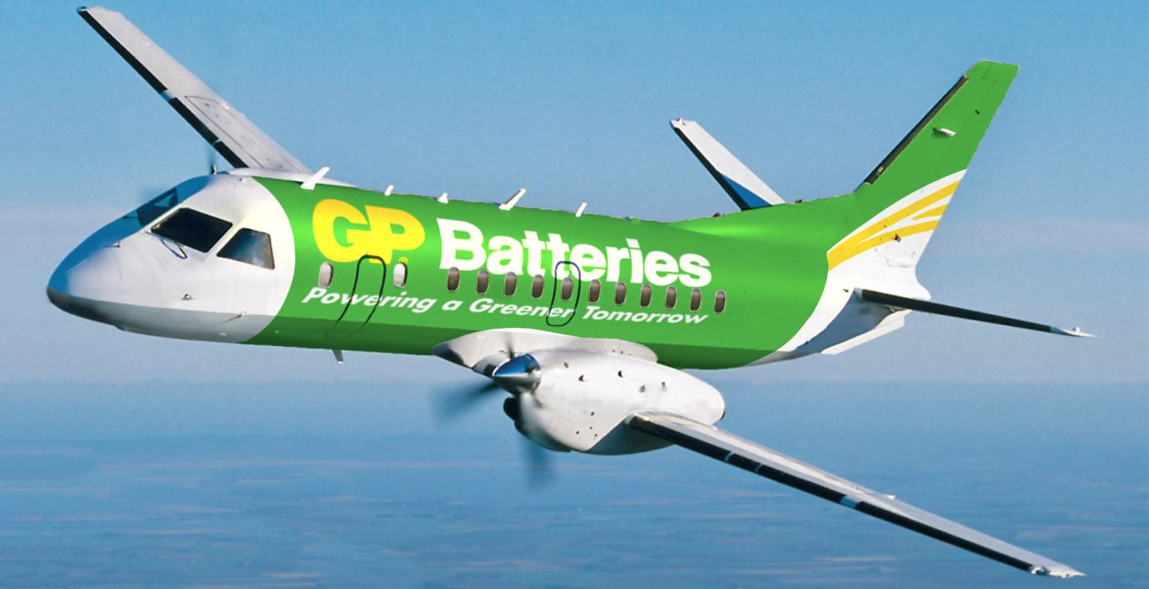 gp batteries flygplan annonsbolaget